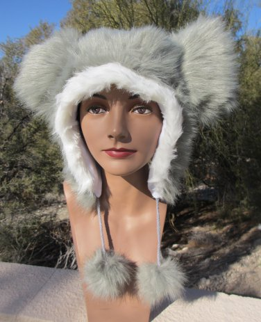 GRAY MOUSE EARS HAT fun furry fuzzy big mickey GREY animal costume
