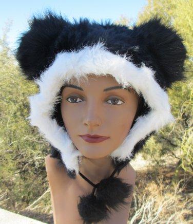 BLACK  MOUSE EARS HAT fun furry fuzzy big mickey animal costume