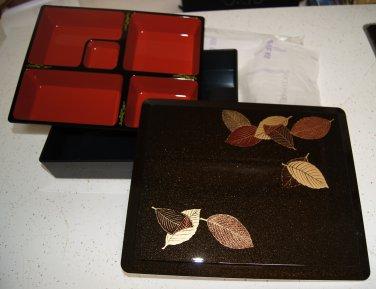"LARGE BENTO BOX Dinner 12"" Leaf - obento restaurant supply SHAKU Monjyu Big Boxes"