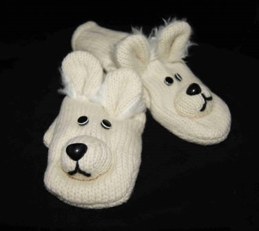 Special Edition POLAR BEAR Mittens LINED Knit ADULT delux furry ears  puppets