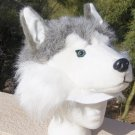 DOG HAT Siberian Husky Sled Alaskan Malamute plush fake fur MUSHING mask cap Adult HALLOWEEN COSTUME
