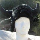 BUFFALO HAT BULL black horns fur MOOSE furry BISON decoy antlers animal HALLOWEEN costume viking