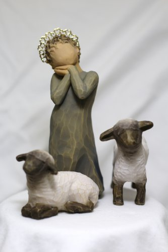 Willow Tree ANGELS Little Shepherdess 3 piece sheep figurine statues gold crown of hearts