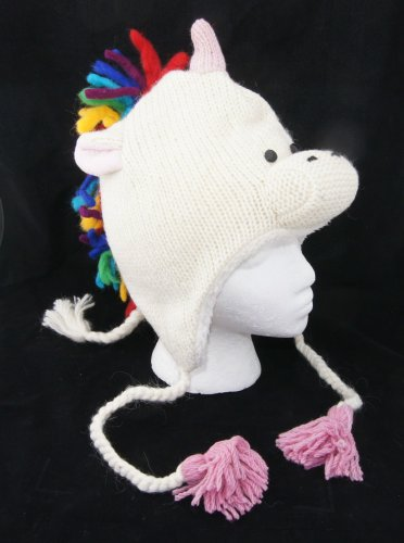 RAINBOW UNICORN HAT Adult  knit FLEECE LINED white horse COSTUME head mask stallion equestrian