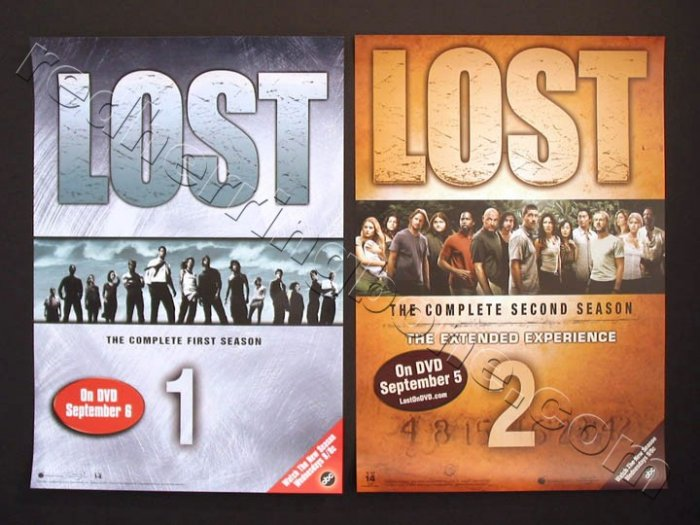Lost TV Show Promo Posters for Season 1 and 2 DVD release ABC NEW