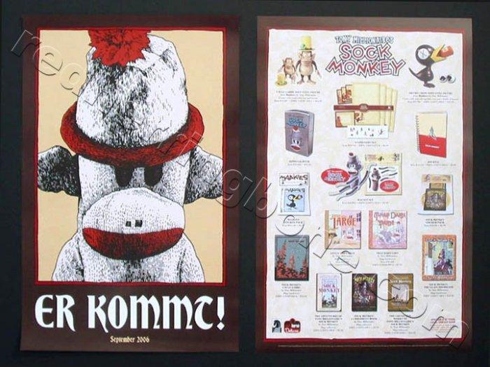 "Sock Monkey double-sided Promo Poster (Tony Millionaire) 11""x17"" NEW"