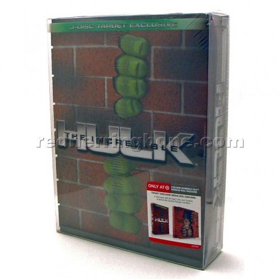 The Incredible Hulk 3-Disc DVD with Hulk Breaking Wall Packaging Case (Target Exclusive) NEW