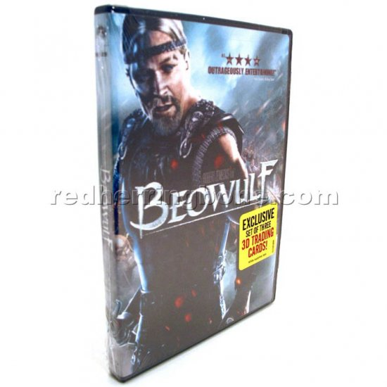 Beowulf DVD with 3D Trading Cards (Best Buy Exclusive) & bonus Beowulf 'B' logo pin NEW