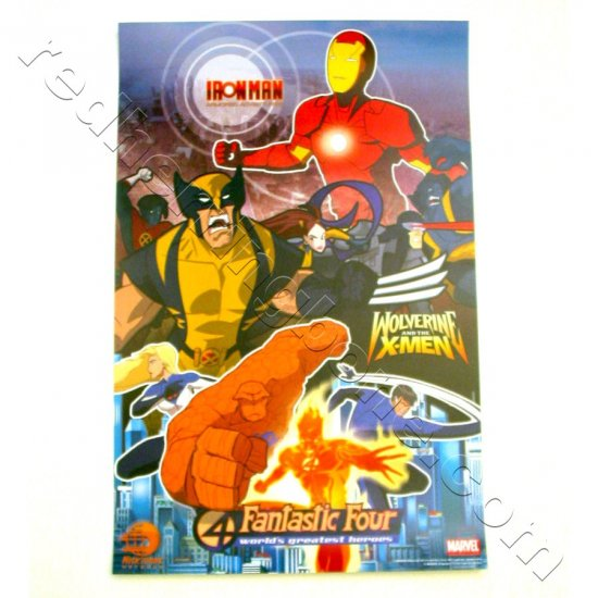 Marvel Animated Shows Promo Poster (Iron Man, Wolverine and the X-Men, Fantastic Four) Nicktoons NEW