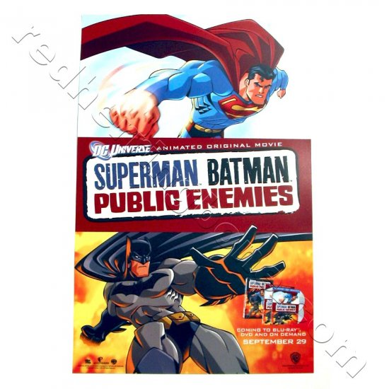 Superman Batman: Public Enemies - animated feature Promo Poster for DVD release (DC Universe) NEW