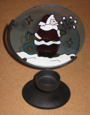Stained Glass Santa Claus Christmas Tea Light Candle Holder