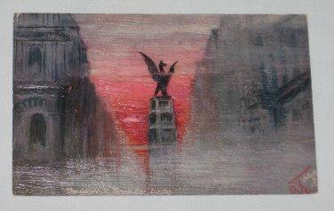 VINTAGE Tucks Oilette 7704 Foggy London Griffin Temple Bar POSTCARD Marchioness Townshend