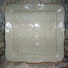 Lenox Winters Imprint Square Serving Tray Platter Dish Gold Trim Holly Leaves Pinecones NEW