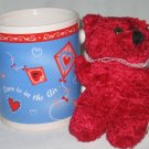Valentine's Day Mug with Plush Stuffed Teddy Bear NEW