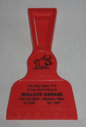 Bullock Garage Madison Wisconsin Red Ice Scraper with Clip Collectible Advertisement Item