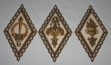 Vintage 1971 Homco Wall Decorations Plaques Set of 3 Diamond Shaped