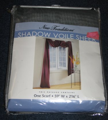 Shadow Voile Sheer Window Scarf SAGE 59 x 216 New Traditions from Sears NEW