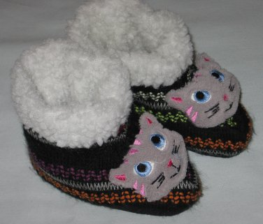 Kitty Cat High Top Booties Slippers with Fleece Lining Toddler Size
