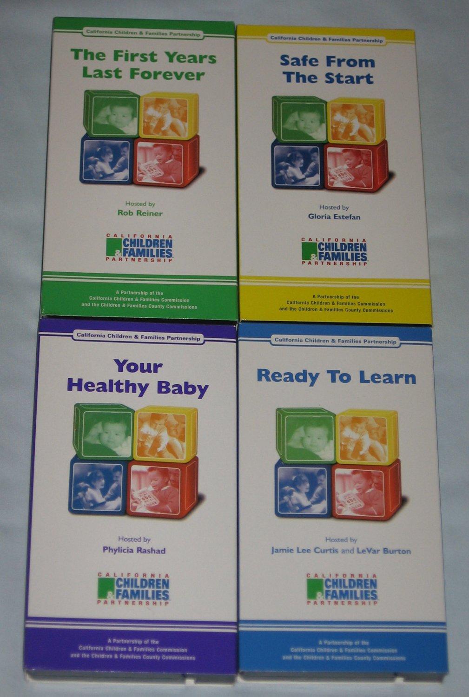 Set of 4 Child Development VHS Tapes Rob Reiner Gloria Estefan Jamie Lee Curtis Phylicia Rashad