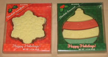 Chocolate Ornament and Chocolate Snowflake Candy in Holiday Packages Lot of 2
