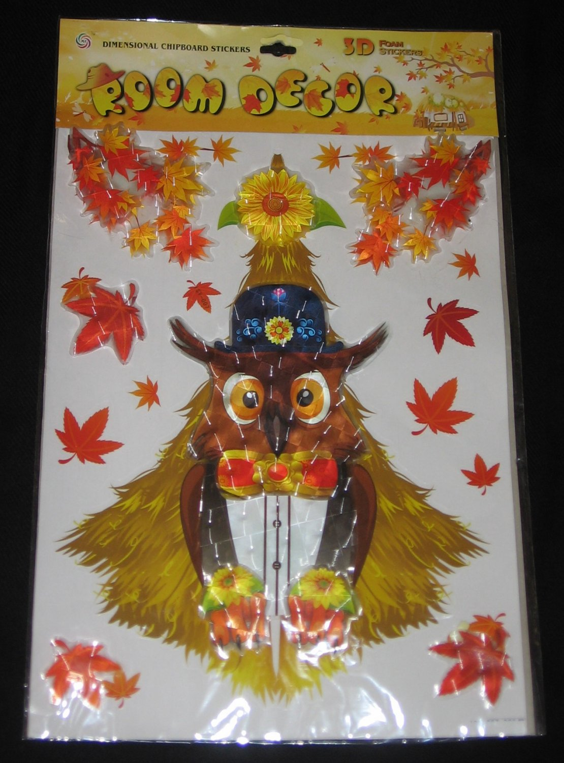 Autumn fall leaves owl 3d foam dimensional puffy stickers for Room decor 3d foam stickers