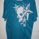 Stars and Skull Turquoise T-Shirt Size Large L Jerzees Heavyweight Cotton