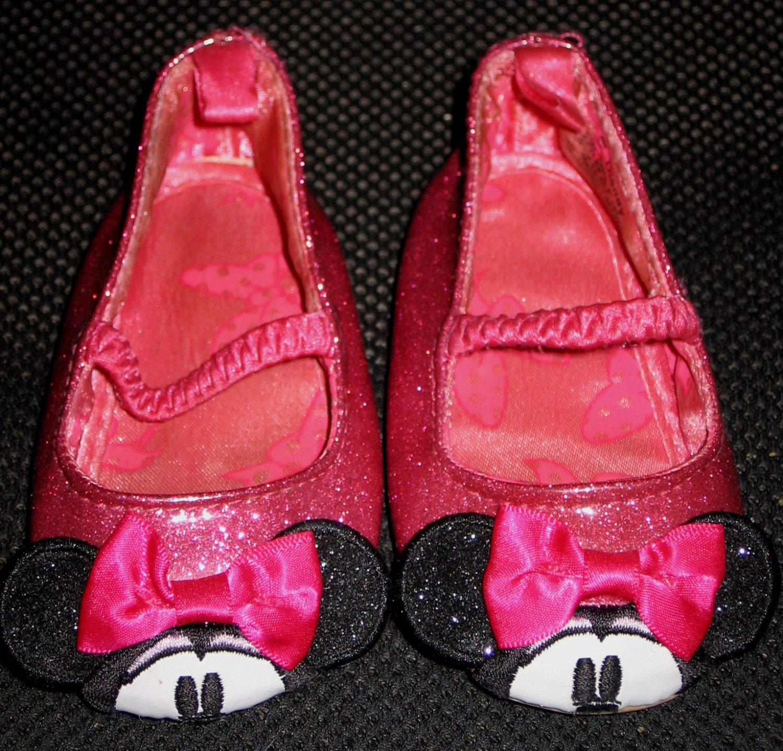 Disney Minnie Mouse Sparkle Glitter Pink Ballet Flat Shoes Size 6 � 12 Months