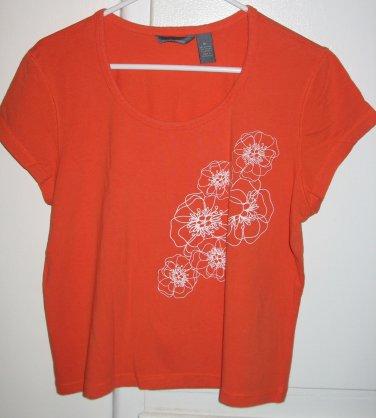 Hillard and Hanson Orange Shirt Top with White Flowers Cap Sleeves Womens Size XL