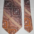 DON LOPER of California Mens Paisley Stripe Tie Necktie Brown and Orange