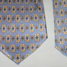 RENE CHAGAL Mens Handmade Silk Tie Necktie Blue Geometric Diamond Design