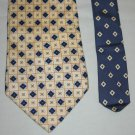 TOMMY HILFIGER Mens Silk Tie Necktie Cream with Tiny Blue Diamond Design