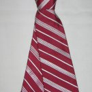 "Pour Hommes SM Clip On Boys Tie 16"" Maroon & Silver Diagonal Stripes Handmade"