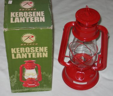 Kerosene Lantern Lamp Adjustable Wick 12 inches Tall Red Rothco 740 Camping NEW