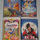 Lot of 4 Disney Movies Snow White Cinderella Lion King 101 Dalmatians Masterpiece Collection VHS