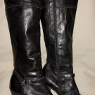 n.d.c. Made by Hand Black High Heel Knee High Leather Boots with Buckle Womens Size 36 US 6