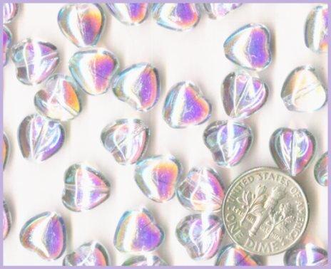 50 AB Crystal Czech Glass Puff Heart Beads - 10mm