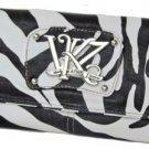 Kathy Van Zeeland Monogram Zebra Clutch Wallet Black White NWT