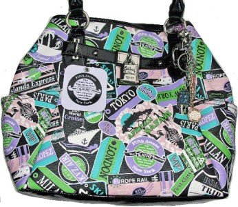 Kathy Van Zeeland Large POSTMAN Travel Print Tote Bag Purse NWT