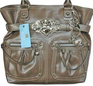 Kathy Van Zeeland Brass Patent Pending North South N/S Belt Shopper Bag