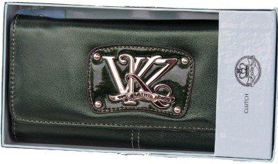 Kathy Van Zeeland Bottle Green Monogram Clutch Wallet