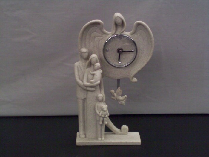 Guardian Angel with Family Clock