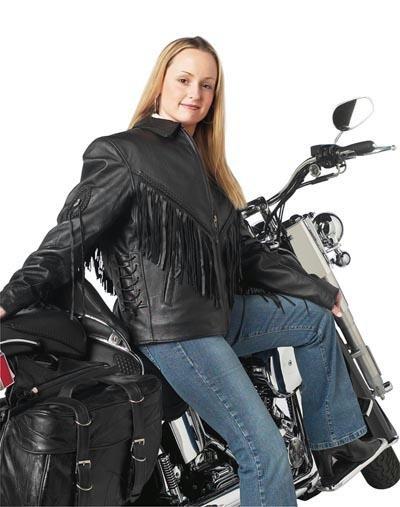 Solid Genuine Leather Ladies Motorcycle Jacket with fringe