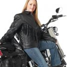Solid Genuine Leather Ladies Motorcycle Jacket with fringe