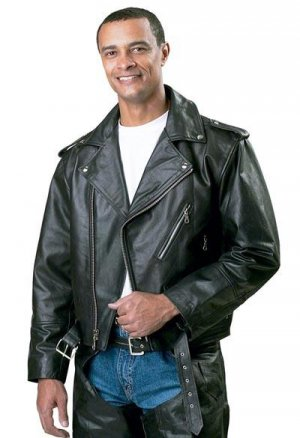 Men's Belted Solid Leather Motorcycle Jacket