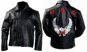 Men's leather patch jacket