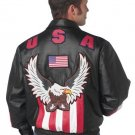 USA/Eagle Solid Genuine Leather Bomber Jacket