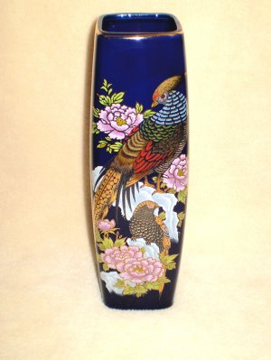 "Fine Ceramic Cobolt Blue Vase fr. Japan, 9.5"" Tall"
