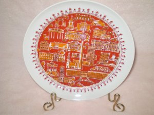 "50's Red & White GDR Collectible Plate, Stamped - 7.5"" X 7.5"""