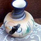 "R.W. Adamson Hand Crafted/Painted Vase w/Eagle Design, 6 1/2"" Tall"