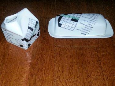Novelty Collectible - NY Times Ceramic Creamer/Butter Dish Set, 3PCs, FREE SHIPPING